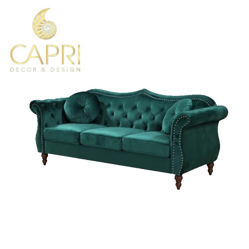 Đồ nội thất cao cấp Capri Home: Sofa xanh ba chỗ ngồi