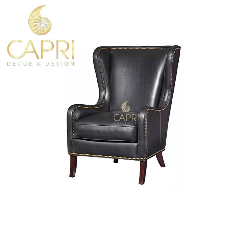 Đồ nội thất cao cấp Capri Home: Sofa đơn bọc da đen